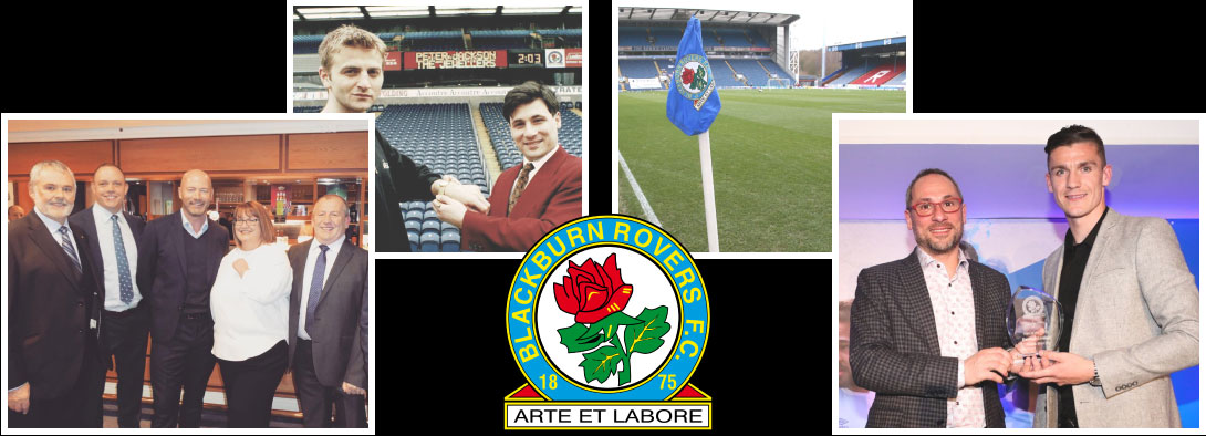 A montage of images from Blackburn Rovers, and the Blackburn Rovers crest