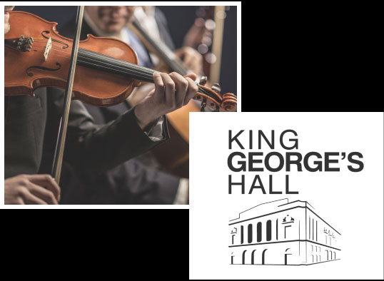 Close up of a Violinist and the King Georges Hall Logo