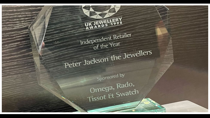 Close up of the Independant Jeweller of the Year award